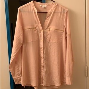 Calvin Klein Pink Button Up Long Sleeve Blouse